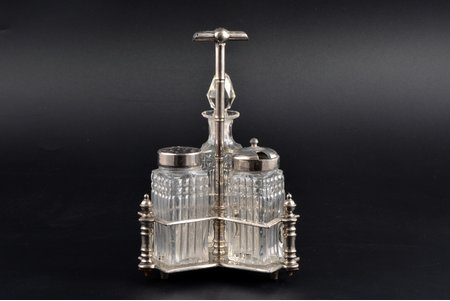condiment set, B. Friedgut, the beginning of the 20th cent., h 18.5 cm, small chip on the neck of bottle