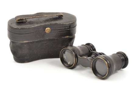 оpera glasses, Lemaire Fabt Paris, metal, leather, 9.5 x 5.4 x 3.3 cm, in a leather case