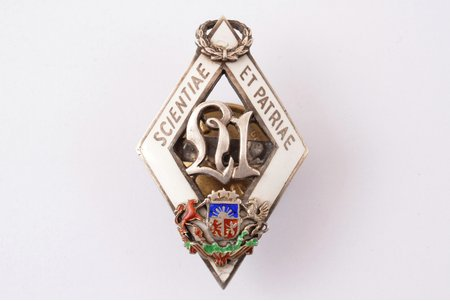 student's badge, University of Latvia, silver, enamel, Latvia, the 30ies of 20th cent., 44 x 27.5 mm