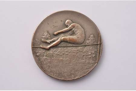 commemorative medal, Latvia Championship in athletics, 2nd place, bronze, silver plate, Latvia, 1943, Ø 40 mm