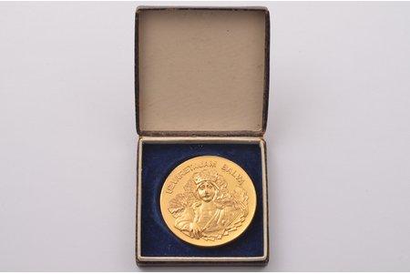 medaļa, Uzvarētājam balva, Latvijas meistarsacīkstes 400 m skriešanā, Latvija, 1934 g., Ø 40 mm, oriģinālajā kastītē