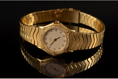 "wristwatch, ""Ebel"", ladies', Switzerland, gold, 51 diamonds, 750, 18 K standart, 62.35 g, 24.5 mm, length/bracelet width 18cm/10.5mm, in working codition, metal weight without mechanism 59.5 g"