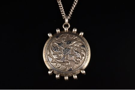 a pendant with chain, silver, 830 standart, pendant weight without chain 18.85 g., the item's dimensions 4.5 x 3.9 cm, chain 84 standard, length 107 cm, weight 24.20 g