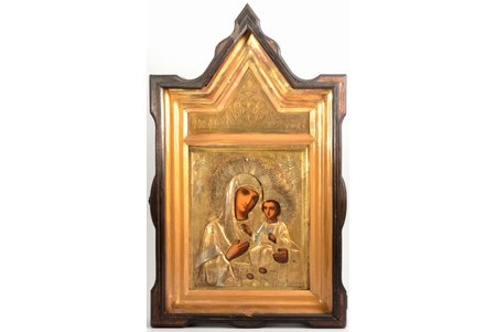 """icon, Mother of God """"Iveron"""", in icon case, board, painting, brass, Russia, 26.7 x 22.2 x 2.1 cm, icon case 56.5 x 34 x 8 cm"""