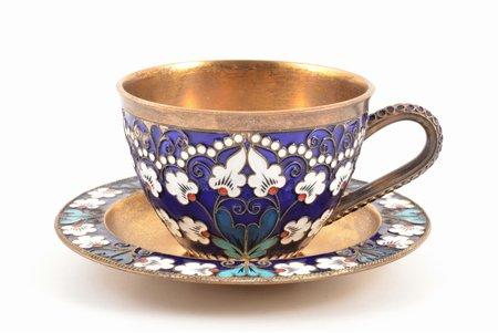 "tea pair, silver, 925 standart, cloisonne enamel, gilding, 1983, total weight of items 229.80g, ""Russkiye Samotsvety"", Leningrad, USSR, h (cup) 5.2 cm, Ø (saucer) 10.9 cm"