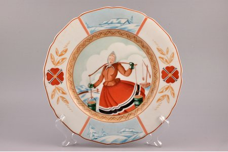 decorative plate, porcelain, sculpture's work, J.K. Jessen manufactory, handpainted by Voldemars Bernhards, sketch by Vilis Ciesnieks, Riga (Latvia), 1941-1944, Ø 27.2 cm