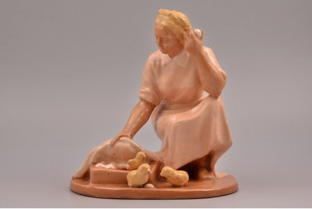 """figurine, Woman with chicken, ceramics, Lithuania, USSR, Kaunas industrial complex """"Daile"""", the 60ies of 20th cent., 20.5 cm"""