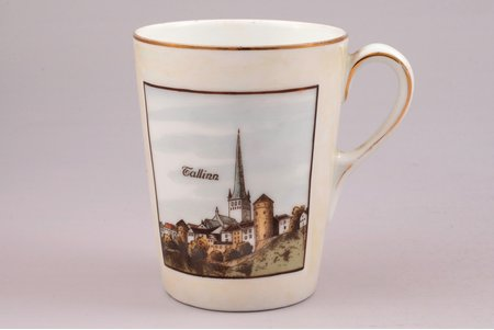 "a cup, ""Tallinn"", porcelain, Langebraun, Estonia, the 20-30ties of 20th cent., h 9 cm"