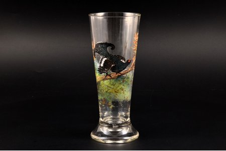 "glass, ""Grouse"", painting by hand, the border of the 19th and the 20th centuries, h 18.5 cm"