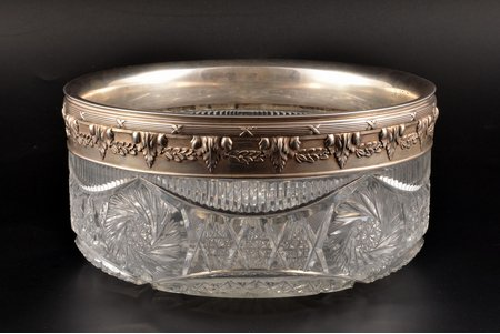 fruit dish, silver, 84 ПТ, 880 standart, crystal, Ø 21 cm, chip on the bottom