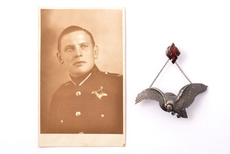 badge, a photo, Military aviation regiment, silver, enamel, Latvia, 20-30ies of 20th cent., 33.2 x 73.4 / 21 x 14.1 mm