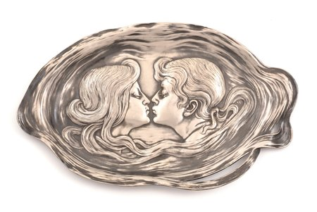 business card holder, Art-Nouveau, Plewkiewicz w Warszawie, silver plated, Russia, Congress Poland, the beginning of the 20th cent., 16.9 x 28 cm