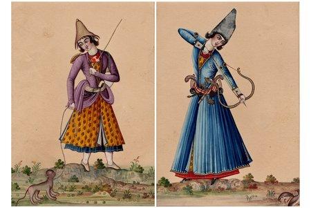 2 miniatūras, Irāna, 19. gs., papīrs, akvarelis, 17.1 x 12.1 cm, papīra izmērs 33.2 x 24.5 cm