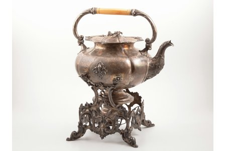 bouillotte, silver, 84 standart, gilding, 1852, 3138.25 g, teapot 1906.6 g + base 1105.1 g + burner device 126.55g, by Carl Siewers, St. Petersburg, Russia, h (with base) 39.4 cm