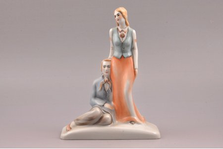 figurine, Couple in traditional costumes, porcelain, Riga (Latvia), J.K.Jessen manufactory, signed painter's work, handpainted by Irina Sochevanova, 1936-1939, h 19 cm