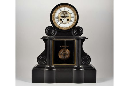 table clock, the border of the 19th and the 20th centuries, body made of stone, 21750 g, 47х38х17 cm, mechanism in working order
