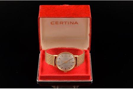 "wristwatch, ""Certina"", with original box, Switzerland, gold, 585 standart, 62.2 g, 18.6 cm, Ø 33.8 mm"