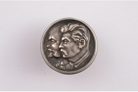 "badge, Stalin and Lenin, silver, Latvia, USSR, 1940, 21.8 x 21.8 mm, ""S. Bercs"" firm"