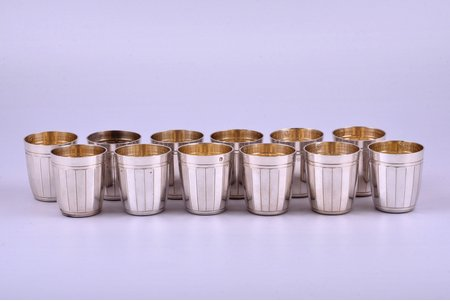 set of 12 beakers, silver, 950 standart, gilding, total weight of items 277.90g, France, h 4.1 cm