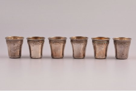 set of 6 beakers, silver, 950 standart, total weight of items 47.75g, France, 3.8 cm, one beaker with dents