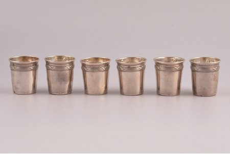 set of 6 beakers, silver, 950 standart, total weight of items 54.35g, France, 3.9 cm, there are dents