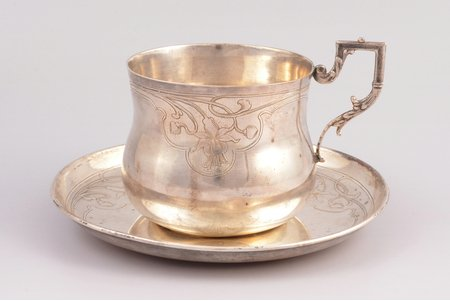 tea pair, silver, 950 standart, total weight of items 229.90g, France, h (cup with handle) 9 cm, Ø (saucer) 16.2 cm