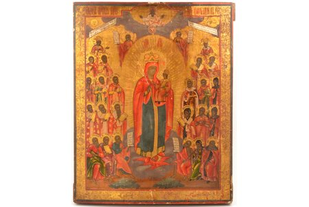 icon, Mother of God Joy of All Who Sorrow, board, painting on gold, Russia, 40 x 31.9 x 3.1 cm