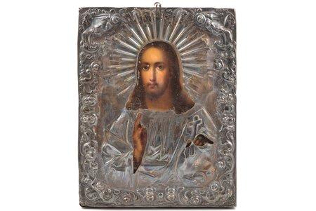 ikona, Jēzus Kristus Pantokrators (Visavaldītājs), dēlis, sudrabs, gleznojums, 84 prove, meistars Bogdanovs Trofims Semjonovs, Krievijas impērija, 1861 g., 22.4 x 17.6 x 1.9 cm, sudraba uzlikas svars 104.60 g