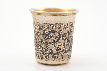 beaker, silver, 84 standart, niello enamel, gilding, 1855, 67.85 g, Moscow, Russia, h 6.4 cm