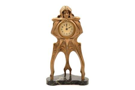 """galda pulkstenis, """"Junghans"""", jūgendstils, Vācija, 19. un 20. gadsimtu robeža, 864.55 g, h 26.3 cm, Ø 49 mm"""