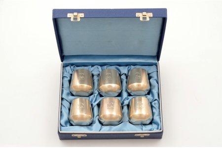 6 biķeru komplekts, sudrabs, 830 prove, 1979 g., izstrādājumu kopējais svars 240.15g, Somija, h 4.9 cm, kastē