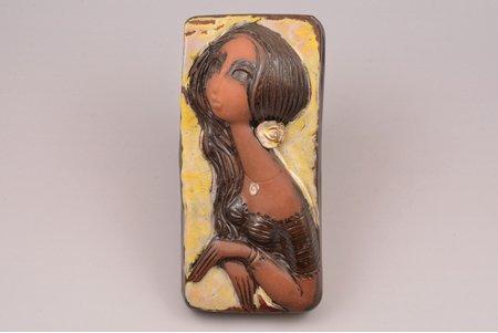 "wall decoration, ""Young Woman"", ceramics, sculpture's work, by Aldona Elfrida Pole-Abolina, Riga (Latvia), USSR, 1980, 18.9 x 9 cm"