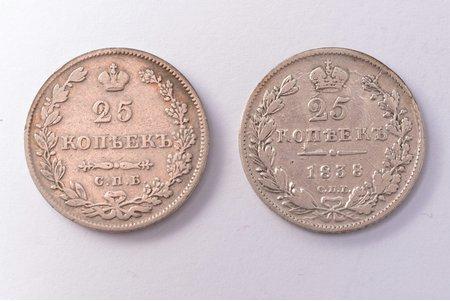 25 kopecks, 1827, 1838, NG, SPB, 2 coins: 25 kopecks (1827) - weight 4.91 g, Ø 24.2 mm, 25 kopecks (1838), eagle of 1839-1843 - weight 4.99 g, Ø 24.4 mm, silver, Russia, VF, F
