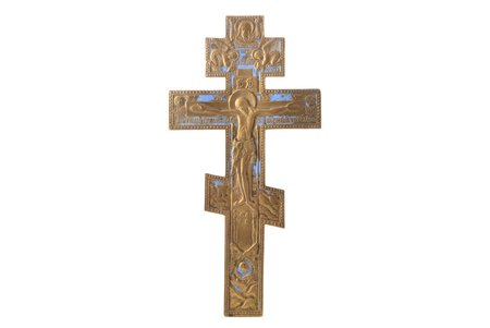 krusts, Kristus Krustā Sišana, vara sakausējuma, 1-krāsu emalja, Krievijas impērija, 19. un 20. gadsimtu robeža, 28.5 x 14.5 x 0.4 cm, 318.05 g.