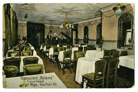 """atklātne, Rīga, restorāns """"Roland"""", Latvija, Krievijas impērija, 20. gs. sākums, 14x9 cm"""
