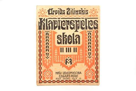 """Arvīds Žilinskis, """"Klavierspēles skola"""", vāka autors - J. Madernieks, 1935, Nošu izdevniecība Edgars Rode, Riga, 56 pages, 30.5 x 24 cm"""