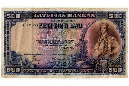 500 lats, banknote, 1929, Latvia, VF