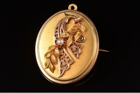 pendant-brooch, gold, 18 k standart, 14.41 g., the item's dimensions 4.2 x 3.2 cm, pearl