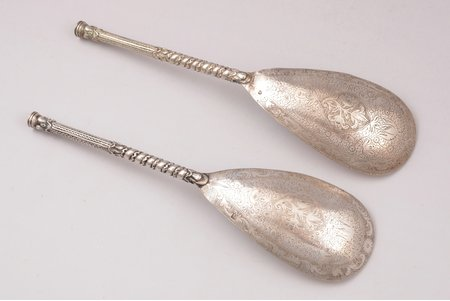 pair of spoons, silver, 84 standart, engraving, 1860, total weight of items 104.20g, Kostroma, Russia, 19 cm