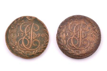 5 копеек, 1790-1795 г., 2 монеты, медь, Российская империя, 40.03 / 54.32 г, Ø 42.7 / 43.4 мм, VF