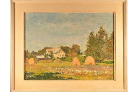 Egle Arvids (1905-1977), Landscape with Sheaves, carton, oil, 37.5 x 48 cm