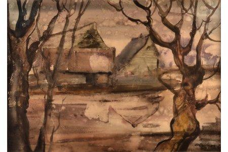 "Rozlapa Dailis (1932-2015), ""Cloudy day"", 1975, paper, water colour, 31 x 42.5 cm"