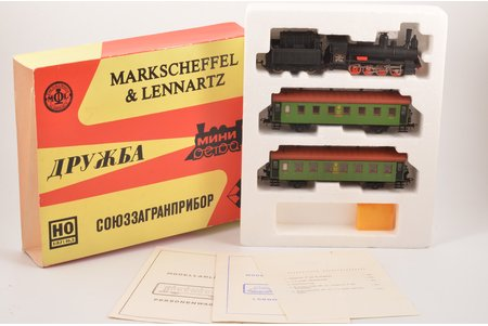 """set collectible models """"Druzhba"""": 2 trailers and steam locomotive, export version, in a package, Markscheffel & Lennartz, USSR"""
