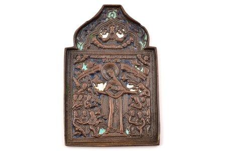 icon, Mother of God Joy of All Who Sorrow, bronze, 3-color enamel, Russia, the 19th cent., 11.8 x 7.9 x 0.4 cm, 159 g.