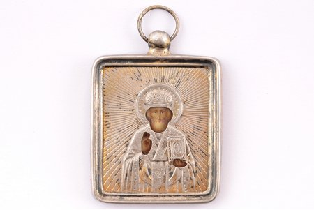 icon, Saint Nicholas the Miracle-Worker, silver, painted on zinc, 84 standart, Russia, 1896-1907, 4.4 x 3.4 x 0.35 cm, oklad weight 3.95 g
