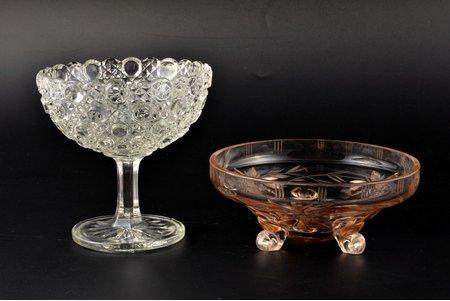 set of 2 candy-bowls, Iļģuciems glass factory, Latvia, the 20-30ties of 20th cent., h 12, Ø 11.5 / h 5.9, Ø 13.9 cm