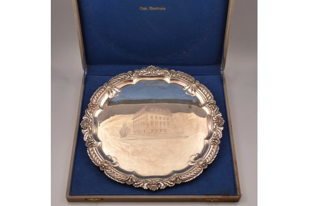 tray, silver, 925 standart, engraving, 1450.30 g, James Deakin & Sons, Sheffield, Great Britain, Ø 37.2 cm, in a box