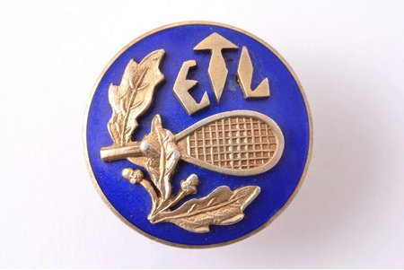 badge, ETL, tennis, Estonia, 20-30ies of 20th cent., 18.5 x 18.5 mm, small chip on the surface of enamel