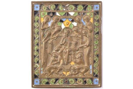 ikona, Jēzus Kristus tronī, vara sakausējuma, 5-krāsu emalja, Krievijas impērija, 19. gs. beigas, 12.9 x 10.5 x 0.5 cm, 549.65 g.