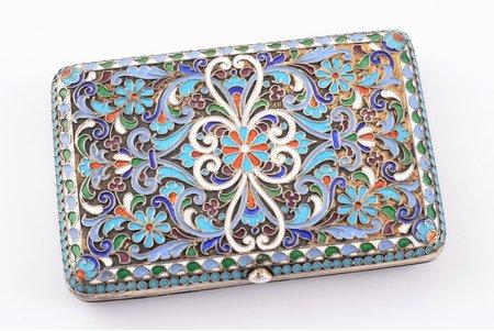 cigarette case, silver, 84 standart, cloisonne enamel, gilding, 1896-1907, 166.65 g, Vasily Rukavishnikov, Russia, 10.1 x 6.8 x 1.7 cm